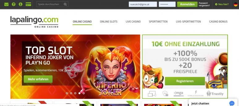 Screenshot vom Lapalingo Casino